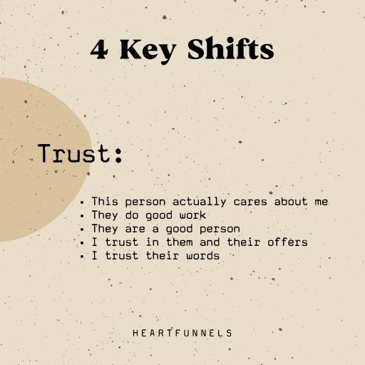 The 4 key shifts your clients need before buying. Trust. This person actually cares about me.