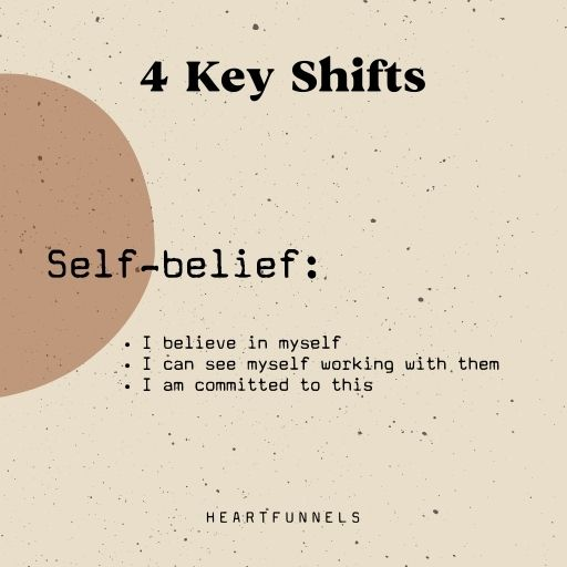 The 4 key shifts your clients need before buying. Self-belief. I am committed.